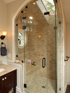 Traditional Bathroom Design, Pictures, Remodel, Decor and Ideas. Love the tile, fixtures, seat, glass