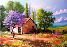 Random Tutorial and Ideas House Landscape, Landscape Art, Landscape Paintings, Pictures To Paint, Art Pictures, Acrylic Painting Canvas, Canvas Art, Ad Of The World, Art Painting Gallery