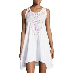 Jwla By Johnny Was Embroidered Handkerchief-Hem Tank Dress ($90) ❤ liked on Polyvore featuring dresses, white, sleeveless long dress, white tank dress, print dress, long white dress and scoop neck dress
