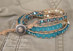 A leather and bead wrap bracelet created on the Jewel Loom l