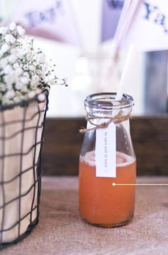 Carry your styling throughout the reception. If you've added little notes to your bomboniere, why not add them to your drinks too! Wedding Loans, Magic Bottles, Fun Wedding Invitations, Drink Bottles, Interior And Exterior, Real Weddings, Birthday Parties, Alcoholic Drinks, Reception