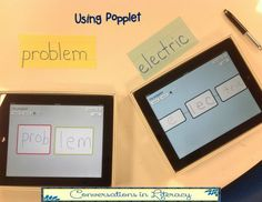 """Using an app called """"Popplet"""" to help students learn how to attack words and break them apart into syllables to help them become better readers!"""