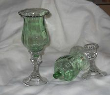 Pair of Green Votive Candle Holders Globes w/ clear candle sticks / Peg Style