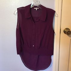 Naked Zebra blouse EUC Plum colored hi-low sleeveless blouse from Naked Zebra! Perfect for LSU games, ladies!!! NO TRADES Naked Zebra Tops Blouses