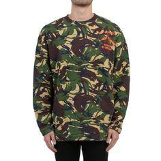 Off-White 'Camouflage Print' Sweatshirt ($460) ❤ liked on Polyvore featuring men's fashion, men's clothing, men's hoodies, men's sweatshirts, multicolor and mens camo sweatshirt