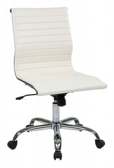 Euro Style Axel Low Back Office Chair Armless In White Aluminum