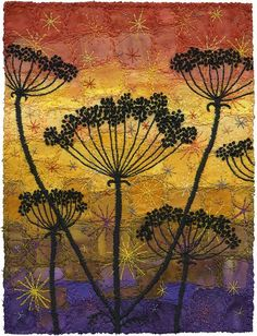 Sunset Umbels by Kirsten Chursinoff, via Flickr | Botanical silhouettes stitched by machine with hand embroidery details such as French knots