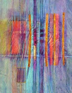 Wonderful mixed media mini quilts by Sherrill Kahn I love Sherrill's color/texture combos. I remember a hilarious meal we had at We Folk of Cloth. Pamela