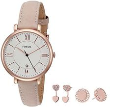 Fossil Womens ES4202SET Jacqueline ThreeHand Date Blush Leather Watch and Jewelry Box Set *** Click image to review more details.(It is Amazon affiliate link) #sun