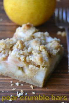 This is such an easy way to use seasonal pears, any variety will work in these buttery crumb bars