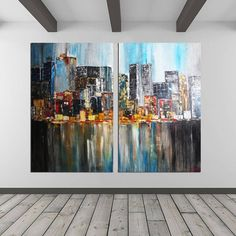 Set of 2 New York City Wall Art Painting Original Abstract Painting Large Canvas Art Modern Art Painting Contemporary Art By Kathleen Artist New York Painting, City Painting, Large Painting, Painting Canvas, Large Canvas Art, Large Art, Bureau D'art, Pop Art Decor, Wall Decor
