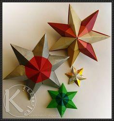 How to Make a Modular Six-pointed Star Origami - http://www.papercraftsquare.com/how-to-make-a-modular-six-pointed-star-origami.html