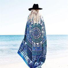 Mandala Beach Cover Up Cloak Bohemia Bikini Boho Hippie Swimwear Bathing Suit