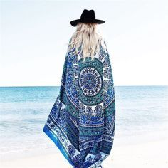 Mandala Beach Cover Up Cloak Bohemia Bikini Boho Hippie Swimwear Bathing Suit