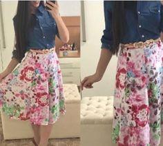 "476 curtidas, 3 comentários - Moda FemininaSorteio No Feed (@fiorittastore) no Instagram: ""bom dia  Look by @fiorittastore Camisa jeans R$:85.00 Saia midi estampada R$:129,90 cinto…"""