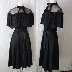 Mod Goth Dress 70s Black Party Dress Miss Kitty Style Dress. $28.00, via Etsy.