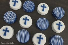 Navy blue and white communion chocolate covered Oreos