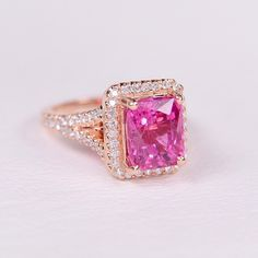 14K Rose gold Bubblegum pink Tourmaline and Diamond ring