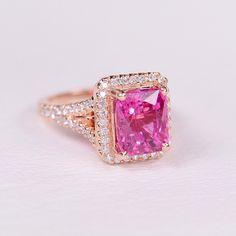 14K Rose gold Bubblegum pink Tourmaline and Diamond ring