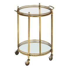 Circular Art Deco French Bar Cart with Tray | From a unique collection of antique and modern carts and bar carts at https://www.1stdibs.com/furniture/tables/bar-carts/