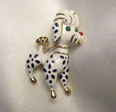 "Vintage, Signed Crown Trifari Poodle Pin - ""Precious Pets"""