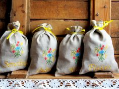 Natural Linen Sachets Set of 4, Embroidered Bags, Burlap Condiment Holder, Handmade, Grey, 100% Pure Linen, Rustic  Kitchen by NaturalHomeTreasures on Etsy