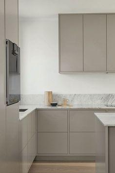Grey Kitchen Interior, Modern Grey Kitchen, Nordic Kitchen, Modern Kitchen Design, Rustic Kitchen, Living Room Interior, Kitchen Decor, Kitchen Ideas, Inframe Kitchen