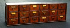 Wooden Card Catalog - you could put a candy buffet in here!