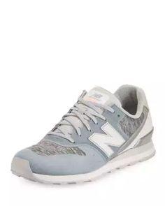S1F7Q New Balance 696 Knit Lace-Up Sneaker, Blue