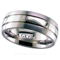 Geti Flat Grooved Titanium Ring