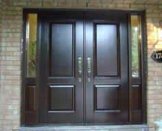 Doors: Solid Black Wood Double Front Entry Doors With Fiberglass Inside And Granite Wall Exterior Decor from Great Home on the Double Front Entry Doors - August 11 2019 at Double Front Entry Doors, Wood Entry Doors, Wooden Doors, Pine Doors, Oak Doors, Interior Columns, Interior Barn Doors, Wall Exterior, Exterior Doors
