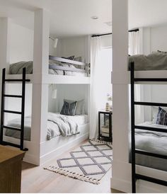 BECKI OWENS- Project Reveal: The Brio Bunk Room This is such a fun bunk room with built-in bunks and soft layers of pattern that feel like a subtle bohemian update on traditional. Read for images, details, and sources! Bunk Bed Rooms, Bunk Beds Built In, Queen Bunk Beds, Build In Bunk Beds, Corner Bunk Beds, 4 Bunk Beds, Bunk Bed Ladder, Cabin Bunk Beds, Modern Bunk Beds
