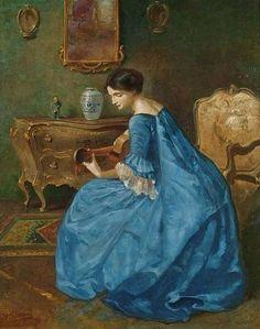 viktor schramm   Girl in Blue with Guitar - Viktor Schramm (romanian painter)