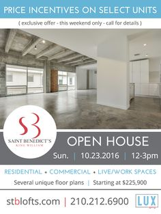 Come by our Open House Sunday, October 23, noon-3pm. We have price incentives on select units this weekend only!
