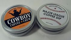 Cowboy Chew & MLB Coffee Dip VTG Tin Can Lid Sign Copenhagen Cope Old Snuff Snus
