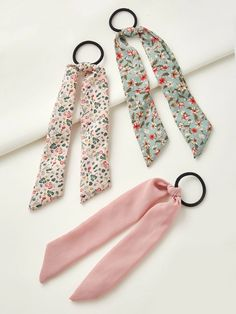 3pcs Ditsy Floral Pattern Bow Knot Decor Hair Tie | SHEIN South Africa Tie Headband, Headbands, Ditsy Floral, Hair Ties, Scrunchies, Free Gifts, Knots, Hair Accessories, Personalized Items