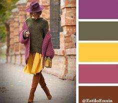 The Truly Classy and Bright Color Combination Ideas for Fashionable Fall Looks. Colour Combinations Fashion, Color Combinations For Clothes, Fashion Colours, Colorful Fashion, Colour Pallete, Colour Schemes, Color Trends, Color Patterns, Color Combos