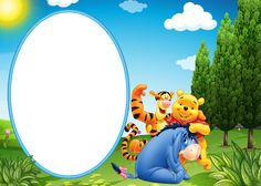 Winnie the Pooh Eeyore and Tiger Transparent PNG Kids Frame