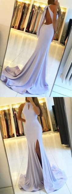Sexy Prom Dress,High Neck Prom Dress,Mermaid Prom Dress,Long Prom Dress with Split,Lavender Evening Dress,Backless Party Dress