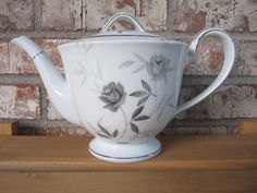 Two 2 Vintage Noritake Rosamor 5851 Cup and Saucers for sale online Noritake, Fine China, Cup And Saucer, Tea Pots, Roses, Japan, Gray, Coffee, Tableware