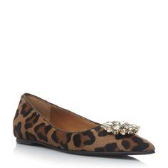 DUNE BLACK LADIES HARRIOT - Jewelled Brooch Concealed Wedge Shoe - leopard   Dune Shoes Online