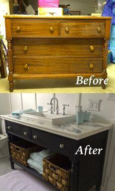 Verwandle eine alte Kommode in eine Badezimmerwaschtisch, indem du sie neu machst und die Tischplatte mit Marmor bedeckst