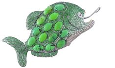 "Lydia Courteille Fish Brooch/Pendent, ""Amazonia Collection"". diamonds, green turquoise, garnets and blackened gold."