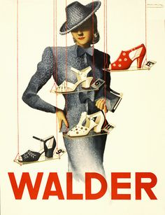 Shopping for Shoes: 1938 – Switzerland, circa 1930s. Illustrated by Victor Ruzo. ( affichiste Victor Rutz)