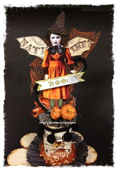 Over the Rainebeau Halloween spoolie doll