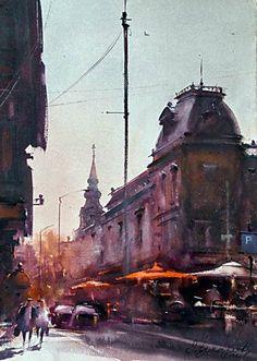 Dusan Djukaric   Street Kralja Petra, watercolour- 46x33 cm