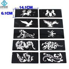 Eagle Tiger Horse 10Xairbrush Stencil For Body Paint Temporary Tattoo 14.1X6.1Cm