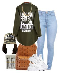 """""""green"""" by simoneswagg on Polyvore featuring MCM, NIKE, women's clothing, women, female, woman, misses and juniors"""
