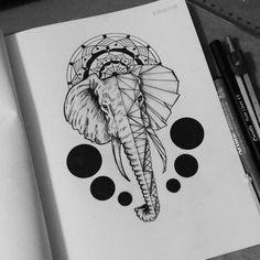 I think I want this one . #elephant #Geometric #circles #tattoo