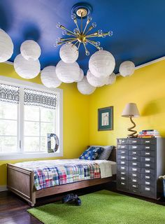 Trendy And Timeless 20 Kids Rooms In Yellow And Blue Interior in measurements 800 X 1085 Blue Yellow Bedroom Ideas - If you are wanting to modernize a Girls Bedroom Colors, Bedroom Wall Colors, Boys Bedroom Decor, Small Room Bedroom, Blue Bedroom, Bedroom Ideas, Blue Ceiling Bedroom, Small Rooms, Blue Yellow Bedrooms